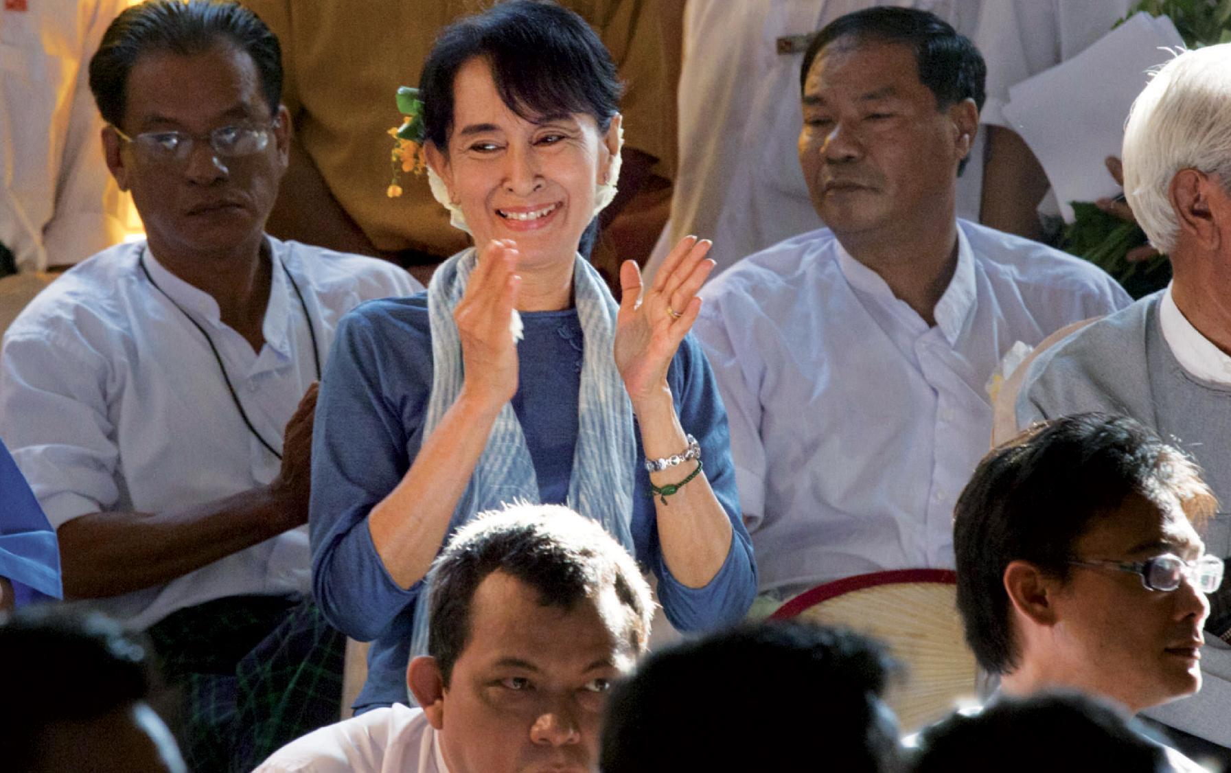 Aung San Suu Kyi à Rangoon, le 10 décembre 2011, à l'occasion du 20e anniversaire de son prix Nobel de la paix