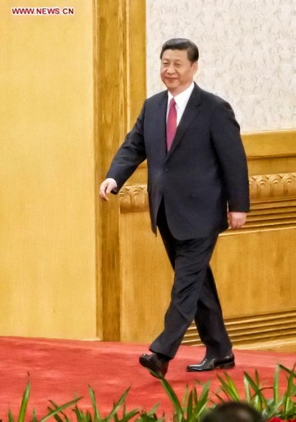 Xi Jinping est le premier à monter sur le podium