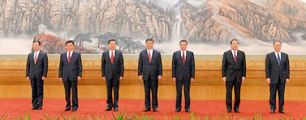 L'alignement des sept membres du nouveau Comité permanent du Politburo