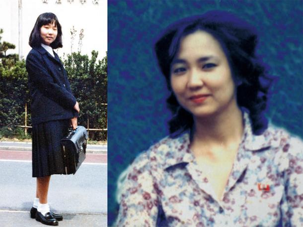 Enlevée à 13 ans (à gauche), Megumi a disparu depuis 1977. Les autorités nord-coréennes ont envoyé à ses parents la photo (à droite) d'une belle trentenaire qui selon les experts pourrait être la kidnappée. Le régime de Pyongyang prétend que Megumi est morte en 1994, ce que ses parents (qui ont cofondé l'association des familles de kidnappés) refusent de croire.
