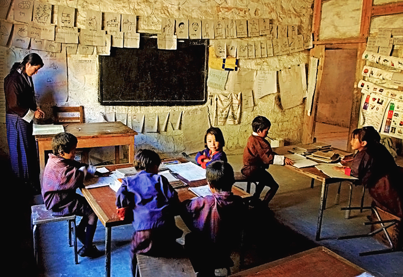 Dans une école de Kuenga Rabten, près de Trongsa