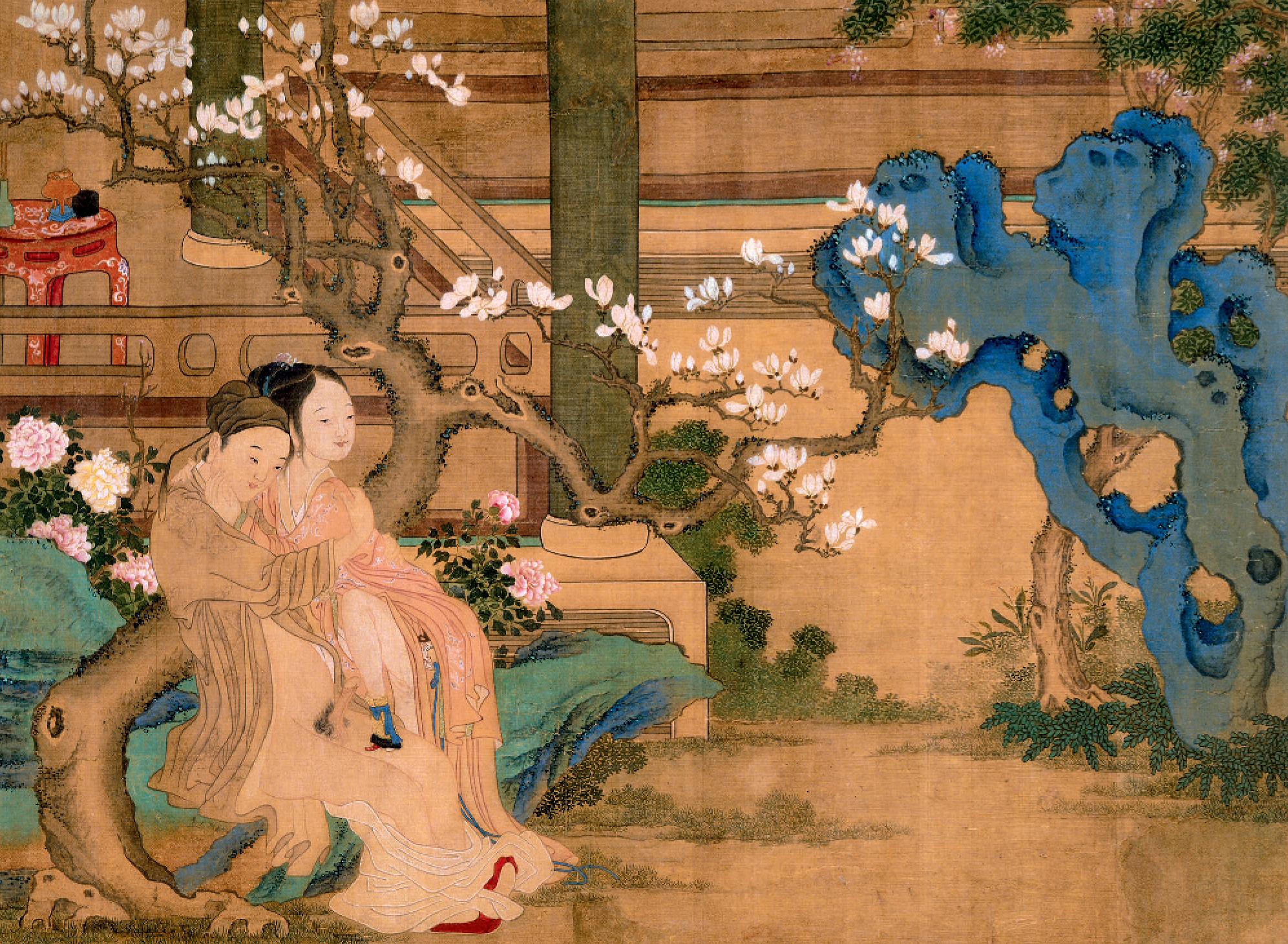 Peinture sur soie extraite d'un album de huit pages (39,5 x 55,5 cm), par un maître anonyme de la période Kangxi (1662-1722). Coll. Ferry Bertholet, Amsterdam.