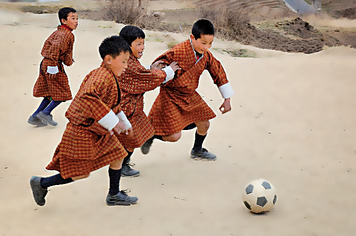 Match de foot au collège Zilukha, à Thimphu