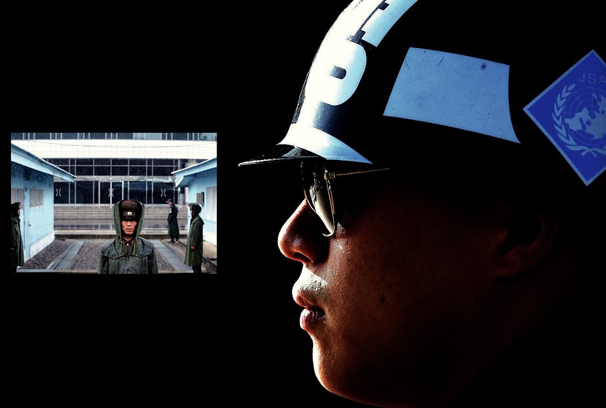 La zone dite démilitarisée, côté Corée du Nord et côté Corée du Sud