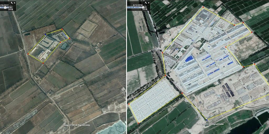 Satellite images of the expansion of one of the Kashgar camps. In February 2017 (left), in August 2018 (right)